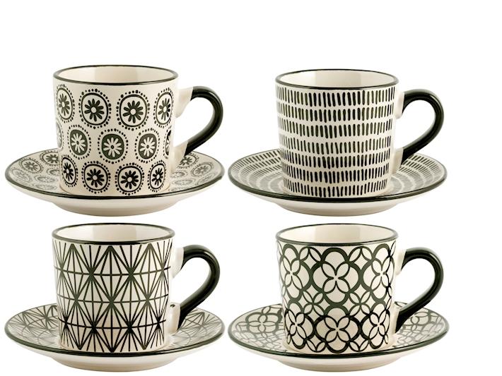 Set 4 Tazze tè con piattino H&H GMA serigrafia su vetro