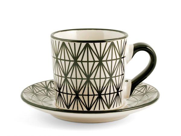 Set 4 Tazze tè con piattino fantasia 1 H&H GMA serigrafia su vetro