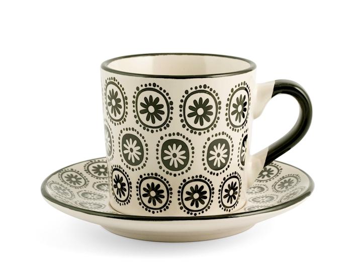 Set 4 Tazze tè con piattino fantasia 2 H&H GMA serigrafia su vetro