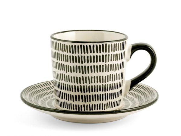 Set 4 Tazze tè con piattino fantasia 3 H&H GMA serigrafia su vetro