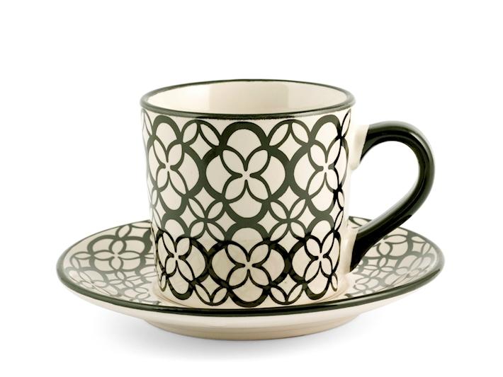 Set 4 Tazze tè con piattino fantasia 4 H&H GMA serigrafia su vetro