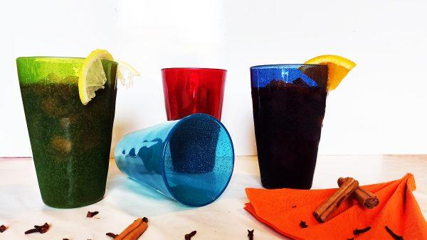 Drink Glass Bicchiere blu profondo in metacrilato Memento Synth Camilla.maison