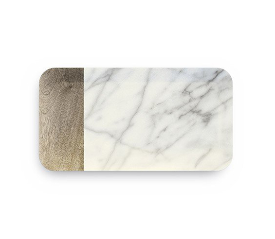 Vassoio Rettangolare Grande Carrara in melamina 38x19 GMA serigrafia