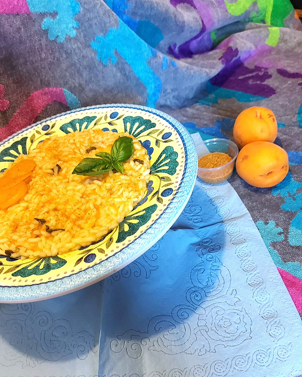 Risotto albicocche e bottarga su Piatto Piano London Touch Mel in melamina Camilla Maison